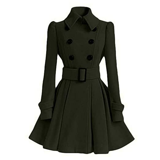 Women Trench Coat Winter Belt Buckle Trenchcoat Double-Breasted Vintage Coat Army Green S