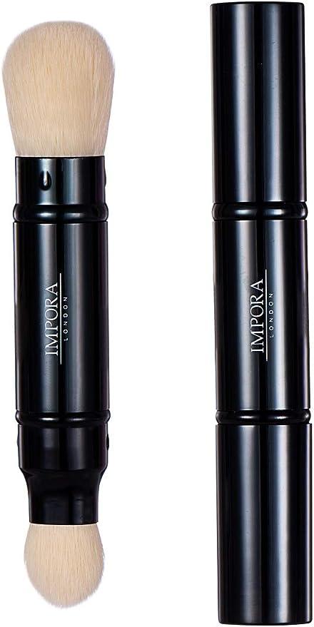 Brocha de maquillaje Kabuki - Brocha doble - Aplica polvos, rubor, maquillaje mineral, base. Estuche de metal con cierre - Perfecto para viajar: Amazon.es: Belleza