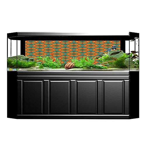 nk Poster Aquarium Background Backdrop PVC Adhesive Orange Kaleidoscope s Inspired Fern Green Marig and Sticker Wallpaper Fish Tank L29.5 x H21.6 ()