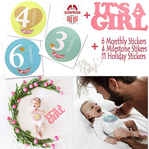Baby Milestone Stickers Baby Monthly Sticker First Year Gender Neutral Milestone Belly Sticker Set of 21+2 Nursery Letter Decoration Milestone Age Sticker Baby Shower Party Bodysuit Photo Picture Prop]()