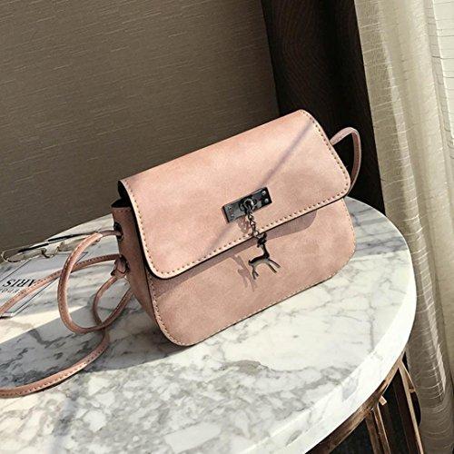 à ESAILQ sac Sac main Small en femme Sac bandoulière cerf pour pour décontracté pink Messenger main Vintage à Sac Bag cuir à rrqfBZ
