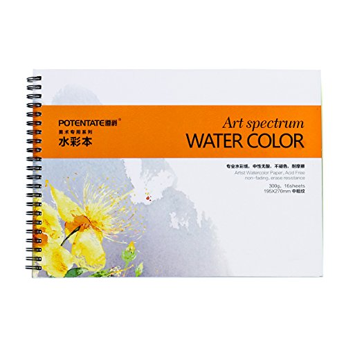 140 Lb Watercolor Block - Spiral Bound Watercolor Paper Pad - Artist Watercolor Pad For Watercolor Pencils, Watercolor Block Painting, Watercolor Brush Pen Including 16 sheets,11