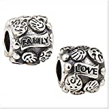 925 Sterling Silver Love Family Bead Fits Pandora Charms I Love Mom Charms