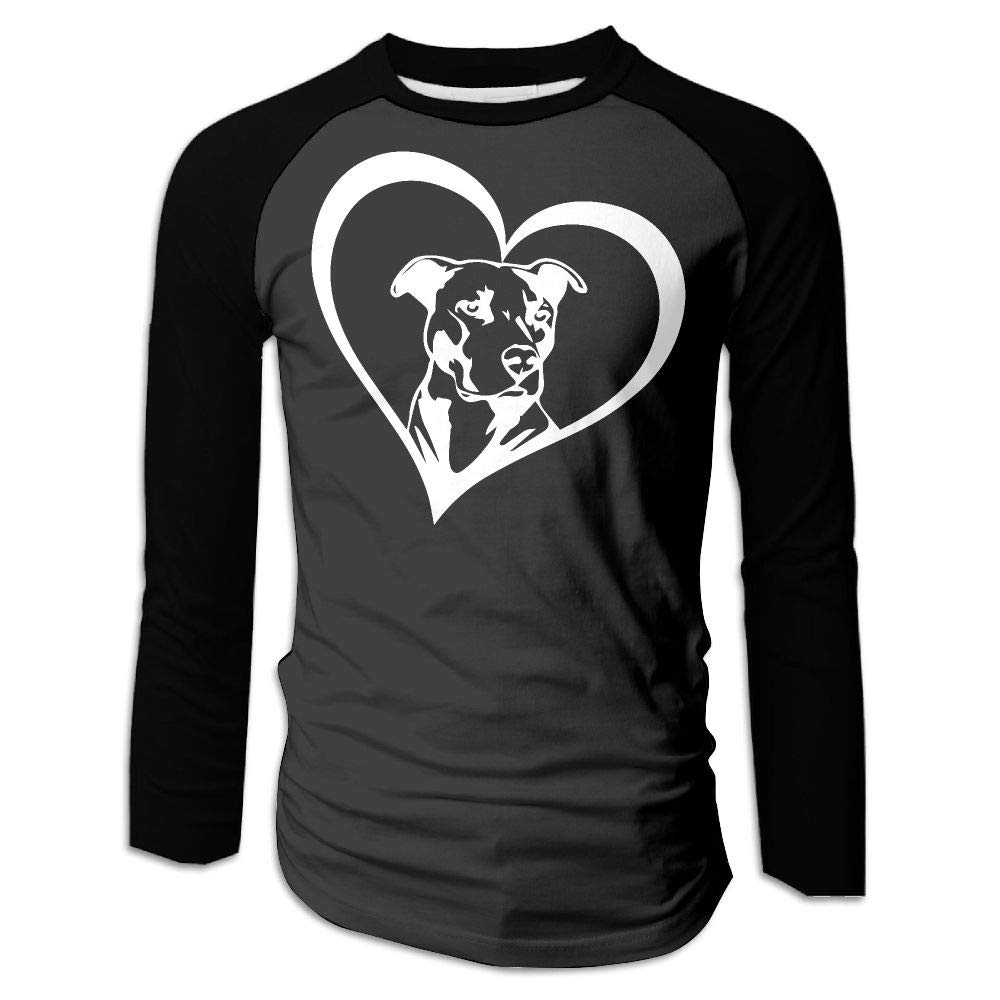 BFS/&33 Pit Bull Heart Mens Gym Crew-Neck Long Sleeve T Shirts Contrast Raglan Tops