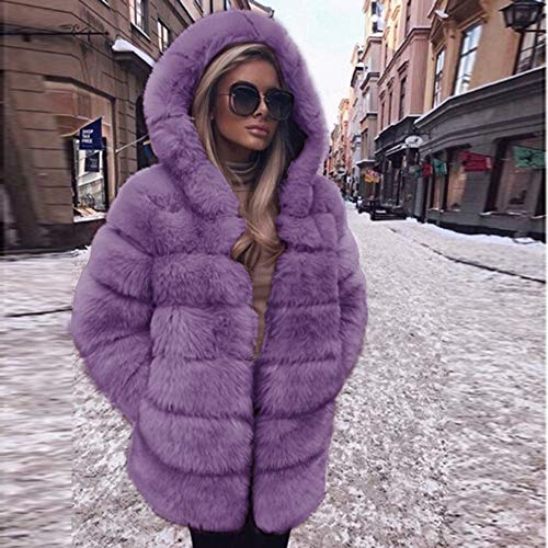 Pour Manteau Dame Fausse Court En Violet Amuster Veste Avec Capuche D'hiver Femme Une Fourrure Z1BwqfnW6f