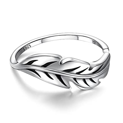 81stgeneration Women's .925 Sterling Silver Feather Leaf Adjustable Ring pEAj4D6Gi