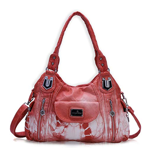 - Handbag Hobo Women Handbag Roomy Multiple Pockets Street ladies' Shoulder Bag Fashion PU Tote Satchel Bag for Women (AK812-2Z Coral)