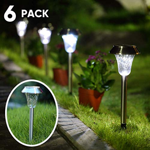 (Cosmic Lawn - Solar Powered Garden Path Lights - 6-Pack - LED White Light and Stainless Steel - Batteries Included - Waterproof and Weather Resistant)