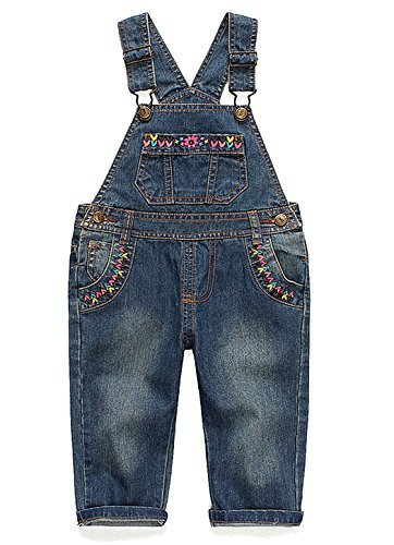 Kidscool Baby and Little Girls Flower Decor Big Bib Jeans Overalls Deep Blue 12 - 18 Months ()
