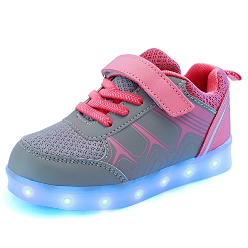 DoGeek Unisex Bambino Scarpe con Luci Scarpe LED Luminosi Sneakers con Luce nella Suola Bright Tennis Shoes USB 7 Colori Lampeggiante Trainners Pink