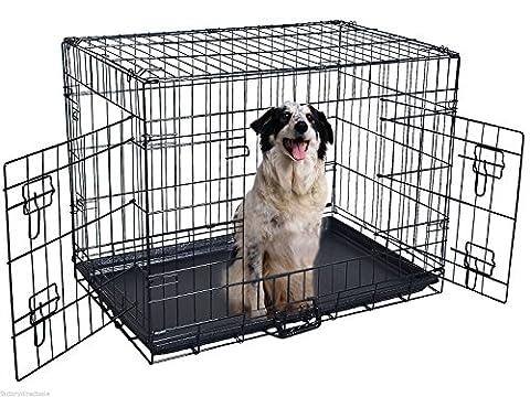 "Kennel Cat Dog Folding Metal Crate (Medium: (LxWxH) 30x20x22"")"