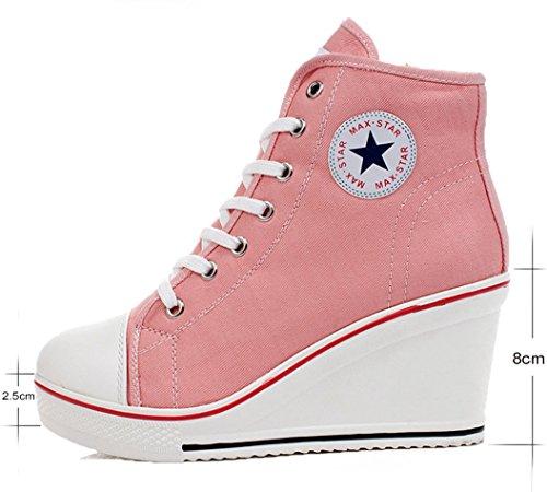 Scarpe Lato Zip Rosa Cm Moda Wealsex 8 Alte Allacciate Donna Tela Sneaker Zeppa Da qnSIU