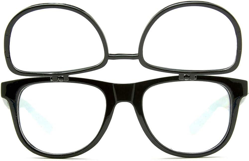GloFX Matrix Flip Up Diffraction Glasses - Black Grating Ultimate Prism Double Effect Rave EDM