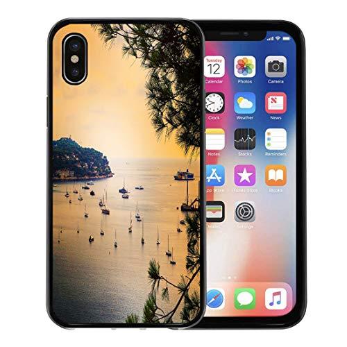 Emvency Phone Case for Apple iPhone Xs Case/iPhone X Case,Panoramic View of Coastline and Beach Luxury Resort Bay Soft Rubber Border Decorative, - Riviera Cap Ferrat