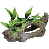 Blue Ribbon Exotic Environments Rock Tunnels with Silk Style Plants Aquarium Ornament
