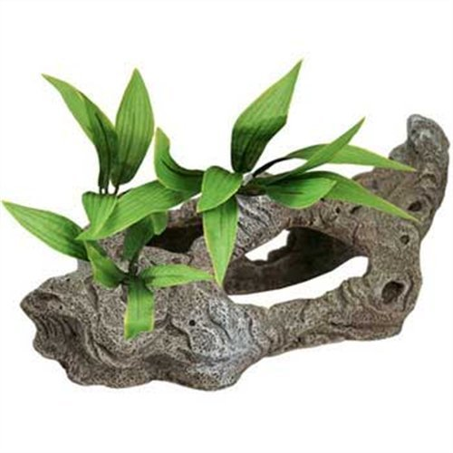 - Exotic Environments Rock Tunnels with Silk Style Plants Aquarium Ornament