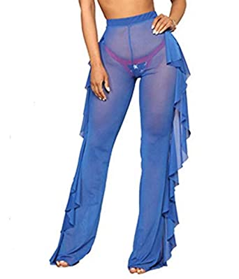 69b4c7e67a Sexy High Waisted Sheer See-Through Fishtail Trouser Palazzo Cover-up Pant  (US