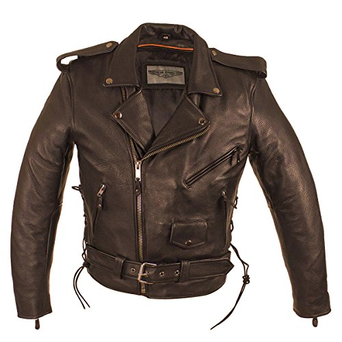 CD D C Men Motorcycle Biker Genuine Cowhide Leather Police Style Jacket Black (Black Notched Leather Buckle Belt)