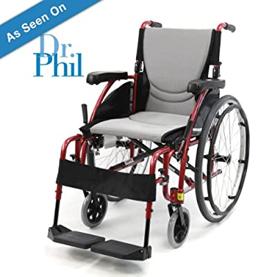"New Karman S-Ergo 115 ( S-Ergo115F16RS ) Ultra Lightweight Ergonomic Wheelchair with 16"" Seat Width, Swing Away Footrest in Red & FREE Wheelchair Seatbelt!"
