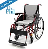 "Karman S-Ergo115F20RS Ultra Lightweight Ergonomic Wheelchair with 20"" Seat Width, Swing Away Footrest in Red & FREE Wheelchair Seatbelt!"