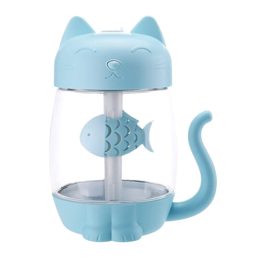 Portable Humidifier for Travel USB,3 in 1 Humidifier Cute Cat LED Humidifier Air Fan Diffuser Purifier Atomizer,Automotive Air Fresheners,Blue,for Car Home Office Travel