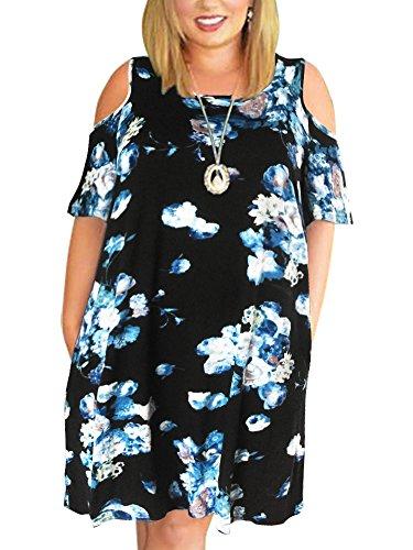 Nemidor Women's Cold Shoulder Plus Size Casual T-Shirt Swing Dress with Pockets (22W, Blue-Print) ()