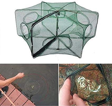 Foldable 6 Holes Fishing Net Shrimp Cage Crab Fish Crayfish Prawn Trap Cast u
