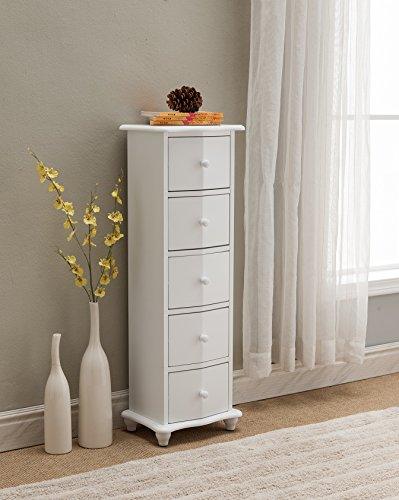 (Kings Brand Furniture White Finish Wood 5 Drawer Accent Cabinet Chest)