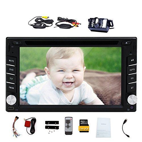 EinCar Free Wireless Back Camera+HD Digital Touch Screen RAM 256MB ROM 128MB Car DVD Player GPS Navigation 6.2'' 2 Din Car Stereo in-Dash Bluetooth Car Radio Audio Video Player FM AM USB SD