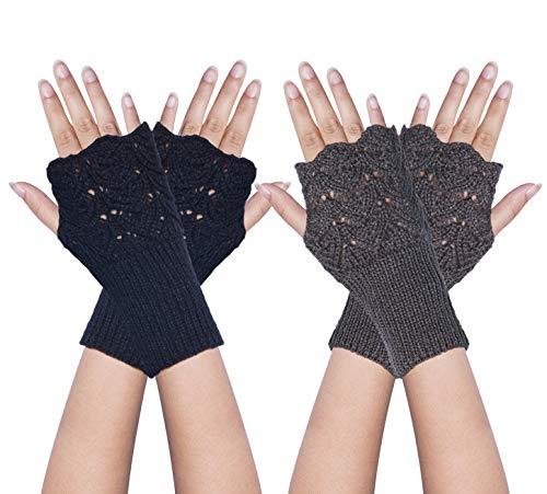 YSense 2 Pairs Womens Winter Warm Hand Crochet Knit Thumb Hole Fingerless Arm Warmers Gloves