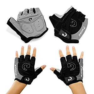 GEARONIC TM New Fashion Cycling Bike Bicycle Motorcycle Shockproof Foam Padded Outdoor Sports Half Finger Short Gloves - Gray L