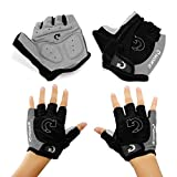 "GEARONIC TM New Fashion Cycling Bike Bicycle Motorcycle Shockproof Outdoor Sports Half Finger Short Gloves - Gray ""L"""