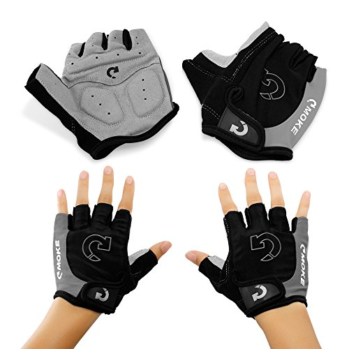 GEARONIC TM New Fashion Cycling Bike Bicycle Motorcycle Shockproof Foam Padded Outdoor Sports Half Finger Short Gloves - Gray (Short Finger Bike Gloves)