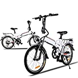 Fashine 20'' Wheel 7 Speed Aluminum Portable Electric Folding Bike 250W Power Plus Road Bicycle with Removable Lithium-Ion Battery White (US Stock)