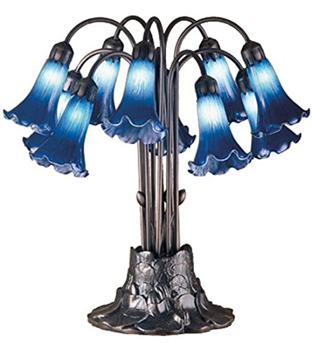 (Meyda Tiffany 14397 Blue Pond Lily 10 Light Table Lamp, 22