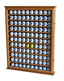 110 Golf Ball Display Case Wall Cabinet Holder Shadow Box, Solid Wood (Oak Finish)