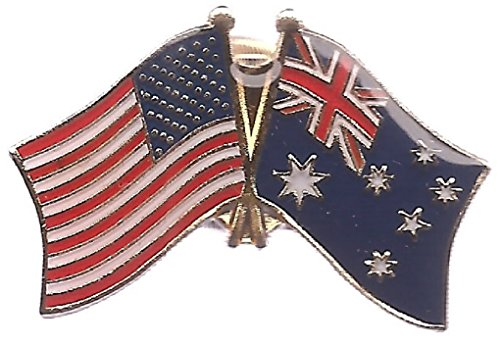 Pack of 3 Australia & US Crossed Flag Lapel Pins, Australian & American Friendship Tie & Hat Pin Badges