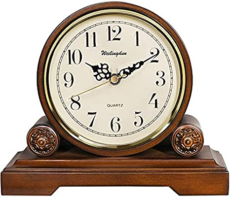 Silent Wood Mantle Clock(12-inch) Beesealy Mantel Clock Quartz Movement,Battery Operated