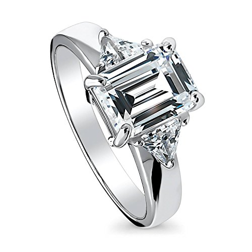 BERRICLE Rhodium Plated Sterling Silver Cubic Zirconia CZ 3-Stone Promise Engagement Ring Size (Emerald Cut Emerald Stone)