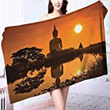Miki Da Premium 100% Cotton Bath Towel YogaGiant Statue by the River at Thai Asian Culture Scene Yin Yang Soft Cotton Durable L63 x W31.2 INCH