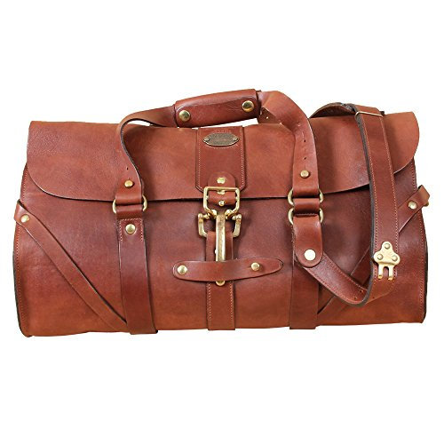 ecb68ce45c35 Leather Grip Brown Travel Bag Carry on Luggage Weekender Duffle USA Made  No. 1