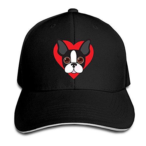 (TB92ed&CW Men's and Women's Snapback Boston Terrier Face Peaked Hat Cotton Baseball Hat for Unisex)