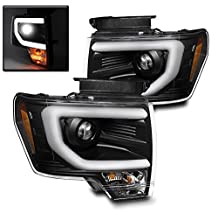 ZMAUTOPARTS Ford F150 Pickup Truck DRL Bar Strip Projector Headlights Lamp Black Pair
