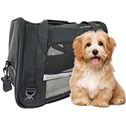 ToysOpoly Premium Pet Travel Carrier, Airline Approved, Soft Sided with Fleece Bed Mats, Perfect for Small Dogs, Cats, Birds, Rabbits, and Chicken (Black)