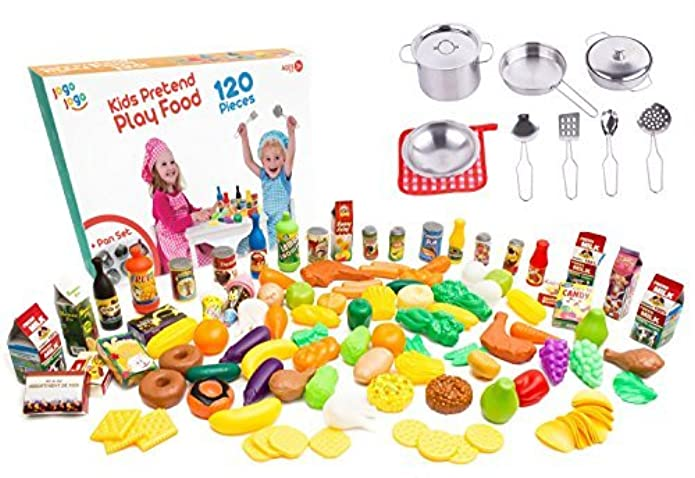 Ultimate Kitchen Play food for Kids - 120 pcs Plastic Play Food Set + Pots and Pans 11 pcs Real Mini Stainless Steel - best Playing food play foods