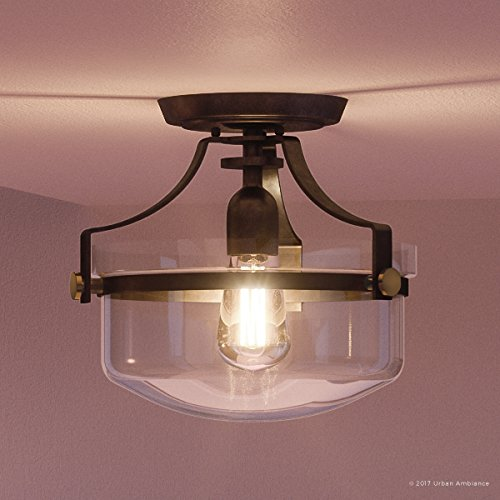 (Luxury Vintage Semi-Flush Ceiling Light, Small Size: 10.5