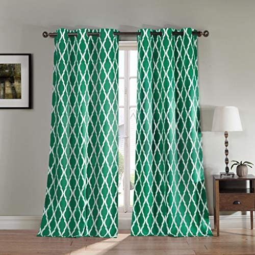 Duck River Textiles Kittattinny Heavy Geometric Insulated Blackout Room Darkening Curtain Set of 2 Panels, 40 X 84 Inch, Emerald