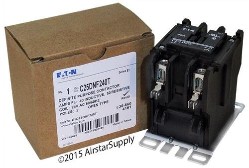 Eaton C25DNF240T 2 pole, 40 AMP Definite Purpose contactor with a 24 volt AC coil