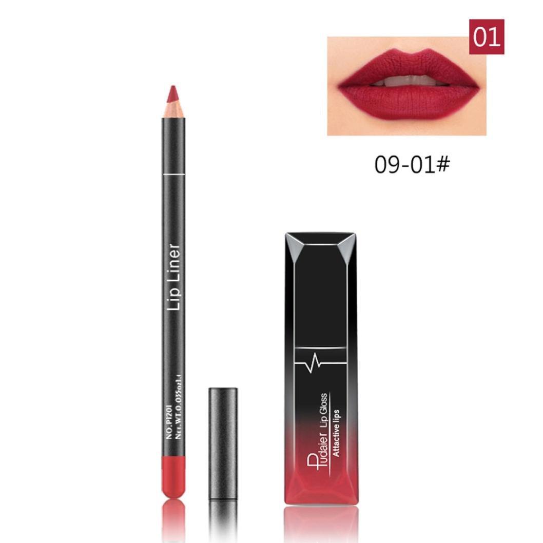 HCFKJ 2017 Mode Frauen Lang Dauerhaft Lippenstift Wasserdicht Matte Liquid Gloss Lip Liner Kosmetik Set (E)