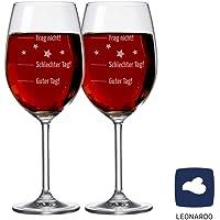 """SET - 2 STÜCK XXL LEONARDO Premium Weinglas - Stimmungsglas """"Guter Tag!, Schlechter Tag! - Frag nicht!"""", 630 ml mit Gravur Rotweinglas / Weißweinglas - originelles Weihnachtsgeschenk"""